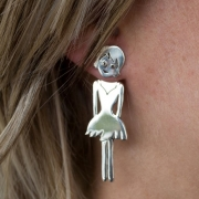 Sterling Silver Hanging Lady Stud
